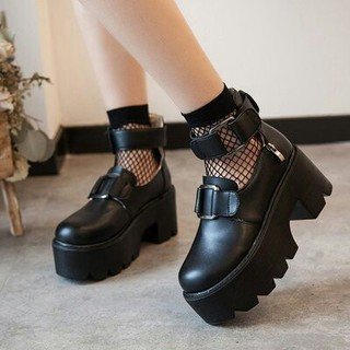 可愛 ロリータ系  厚底シューズ   リングバックル 靴(ローファー/革靴)