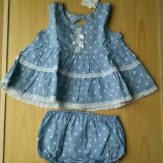 西松屋 - 西松屋 70サイズ服ブルーワンピースとブルマ