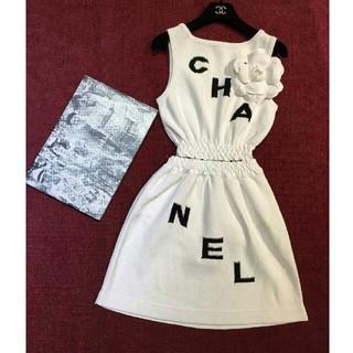 シャネル(CHANEL)のCHANEL 椿の花 ホワイト  タンクトップ  キュロットスカート セット(ミニワンピース)