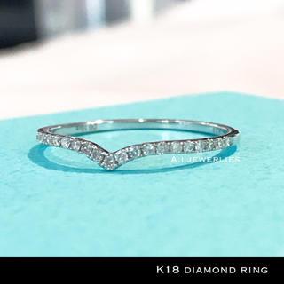 リング 18金 ダイヤモンド k18 天然 ダイヤモンド リング 細め ホワイト(リング(指輪))