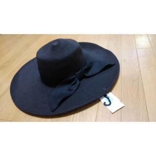 ユニクロ(UNIQLO)の未使用 つば幅広ハット UVカット帽子 黒(ハット)