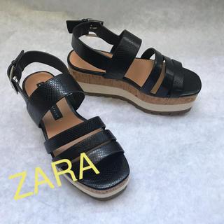 ザラ(ZARA)の良品 ZARA ベルデッドサンダル35/厚底サンダル/サボ/ブラック(サンダル)
