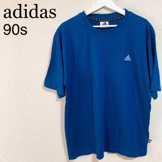 アディダス(adidas)の90s adidas Tシャツ メンズ 青 ロゴマーク ワンポイントロゴ 古着(Tシャツ/カットソー(半袖/袖なし))