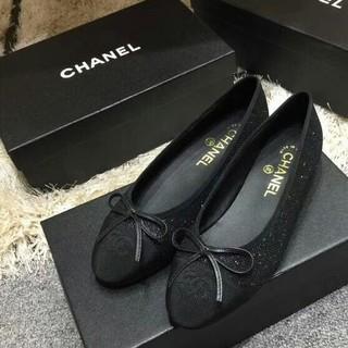 18f90cf160e2 シャネル(CHANEL)のCHANEL シューズ 靴 バレエシューズ 黒 シャネル 24cm (バレエシューズ