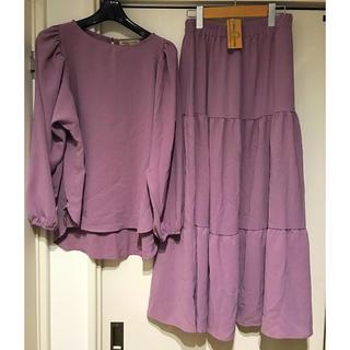 シマムラ(しまむら)のブラウス&ティアードスカート♡セットアップ(ロングスカート)