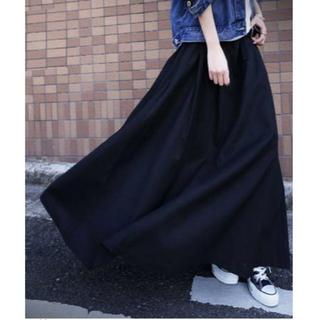 アンティカ(antiqua)の【antiqua】アジャスト 付き チノ ロング スカート ブラック アンティカ(ロングスカート)