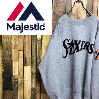 マジェスティック(Majestic)の【激レア】マジェスティック☆カナダ製NBA76ersビッグロゴ刺繍ロゴスウェット(スウェット)