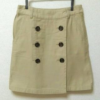 ベルメゾン(ベルメゾン)のボタン付き 台形 スカート ベージュ 綿 ベルメゾン 千趣会(ひざ丈スカート)