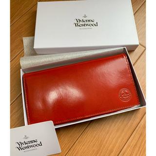 ヴィヴィアンウエストウッド(Vivienne Westwood)のヴィヴィアンウエストウッド★シャインレッドかぶせ長財布新品箱付★格安赤革エンボス(財布)