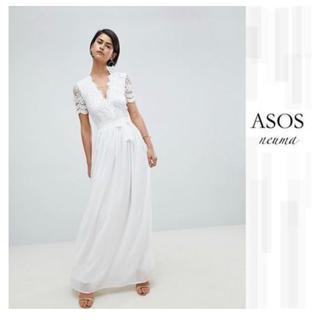 エイソス(asos)のasos※ウェディングドレス※Vネックレース マキシドレス(ウェディングドレス)