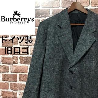 バーバリー(BURBERRY)の【激レア】バーバリー 希少なドイツ製旧ロゴ ロゴ入り裏地ウールチェックジャケット(テーラードジャケット)