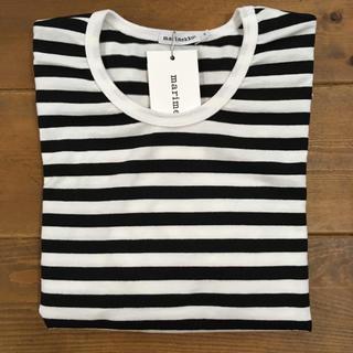 マリメッコ(marimekko)のマリメッコ ボーダーTシャツ 白黒 ロング 新品未使用品(Tシャツ/カットソー(七分/長袖))