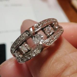 K18WG 高級 天然ダイヤモンドリング 大きいサイズ(リング(指輪))