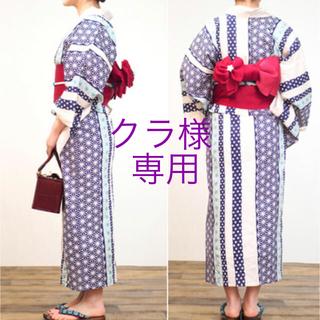 ぽっちゃり ふくよか 女性 浴衣単品 WL 2L XL 麻の葉 ブルー 青(浴衣)