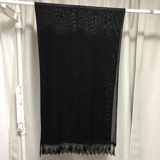 スリーフォータイム(ThreeFourTime)のストール フリンジ 黒 ブラック ラメ 結婚式 ドレス 羽織り(マフラー/ショール)