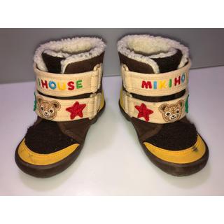 ミキハウス(mikihouse)の150◆ミキハウス◆13cm ブーツ 茶色系 クマ マジックテープモコモコブーツ(ブーツ)
