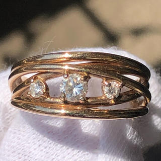 k18pg 18金 ピンクゴールド ダイヤモンド リング 指輪 13号 0.21(リング(指輪))