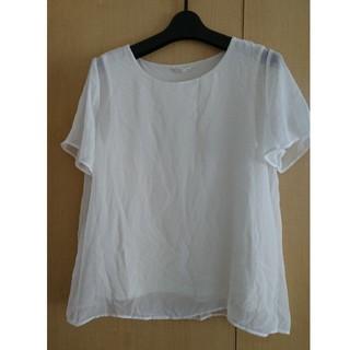 ジーユー(GU)のお買得GUシフォン半袖シャツ白ホワイト黒ブラックM2点セット(シャツ/ブラウス(半袖/袖なし))