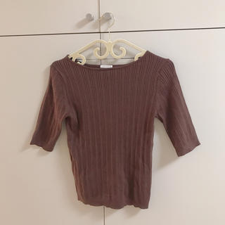 ジーユー(GU)のリブニット Tシャツ ブラウン 茶(ニット/セーター)