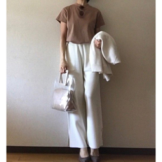 ジーユー(GU)のジーユー スムースT ブラウン サイズL(Tシャツ(半袖/袖なし))