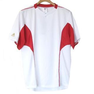 アディダス(adidas)の送料無料新品S★アディダス白×赤VネックトレーニングTシャツ(Tシャツ/カットソー(半袖/袖なし))