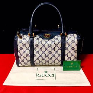 グッチ(Gucci)の超レア‼︎ 美品 グッチ オールドグッチ ネイビー ミニ ボストン ハンドバッグ(ボストンバッグ)