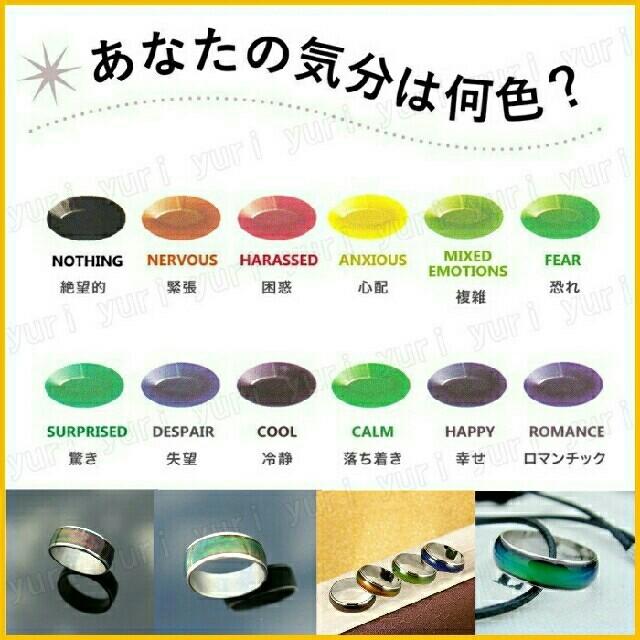 ♠ムードリング カラーチェンジ 不思議なリング 12色 お守り ペンダントトップ メンズのアクセサリー(リング(指輪))の商品写真