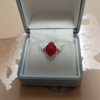 最終限界価格‼️血赤珊瑚k18リング(リング(指輪))