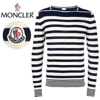 モンクレール(MONCLER)の【12】MONCLERネイビー×アイボリー ボーダーサマーニットL(ニット/セーター)
