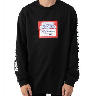 ハフ(HUF)のhuf  × budweiser  label ロンt  black mサイズ(Tシャツ/カットソー(七分/長袖))