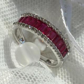 新品 天然ルビー×天然ダイヤ ハーフエタニティリング K18WG(リング(指輪))