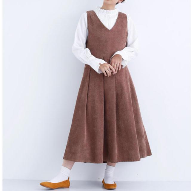 merlot(メルロー)のmerlot コーデュロイジャンパースカート ワンピース ブラウン レディースのワンピース(ロングワンピース/マキシワンピース)の商品写真