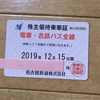 名古屋鉄道株主優待乗車証「電車・名鉄バス全線」(鉄道乗車券)
