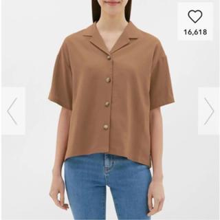 ジーユー(GU)のg.u  リネンブレンドオープンカラーシャツ(シャツ/ブラウス(半袖/袖なし))