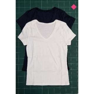cecile - ◆ホワイト+ネイビーVネックTシャツ