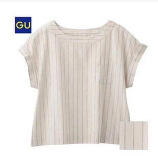 ジーユー(GU)のリネンストライプトップス(シャツ/ブラウス(半袖/袖なし))