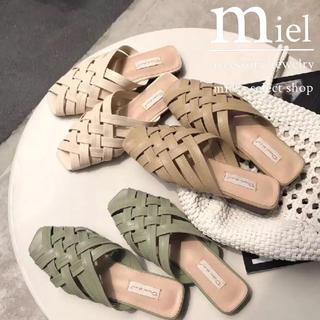 アズールバイマウジー(AZUL by moussy)の《3colour》cross flat shoes/クロス フラット メッシュ(サンダル)