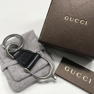 グッチ(Gucci)のGUCCI レザーキーリング ブラック(キーホルダー)