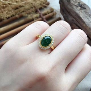 206 k18ゴールドリング 楕円翡翠リング ダイヤモンドリング 指輪 ピンク(リング(指輪))