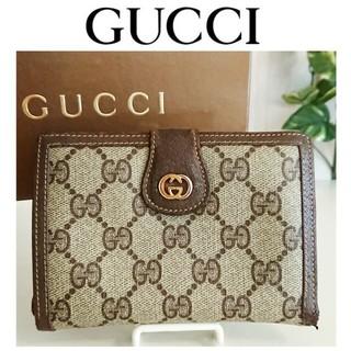 8c6268587fd9 グッチ(Gucci)の正規 オールドグッチ がま口 GG 財布 ベージュ ブラウン レディース メンズ(