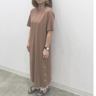 ジーユー(GU)の送料込み♡GU ジーユー ボタンTワンピース(5分袖)(ロングワンピース/マキシワンピース)