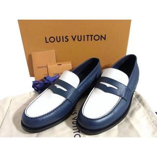 ルイヴィトン(LOUIS VUITTON)の新品 17SS ルイヴィトン バイカラー レザー ローファー 8.5 ネイビー(ドレス/ビジネス)