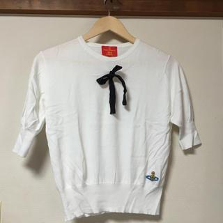 ヴィヴィアンウエストウッド(Vivienne Westwood)の美品 ヴィヴィアンウエストウッド ニット セーター リボン 白 ドルマンニット(カットソー(半袖/袖なし))
