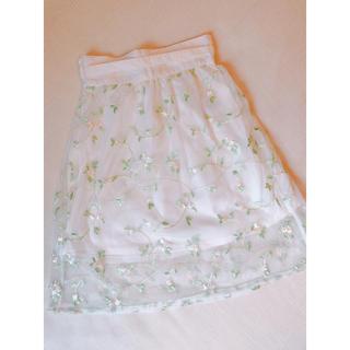 ジーユー(GU)のGU 花柄チュールスカート 110cm(スカート)