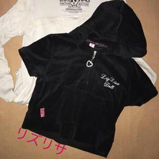 リズリサ(LIZ LISA)のLIZ LISA  リズリサ  パイル素材 半袖パーカー ハート ラインストーン(パーカー)