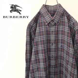 バーバリー(BURBERRY)の【激レア】バーバリー ノバチェックシャツ 古着 90s ワンポイントロゴ レトロ(シャツ)