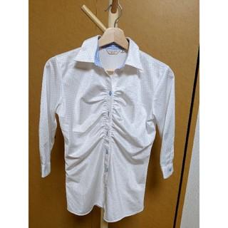 オリヒカ(ORIHICA)のORIHICA オリヒカ Yシャツ ワイシャツ 白  水色 チェック 裏地 七分(シャツ/ブラウス(長袖/七分))