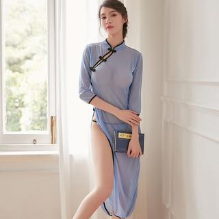 チャイナドレス 中国風 シースルー コスプレ 可愛い Tバック付き ブルー(ブラ&ショーツセット)