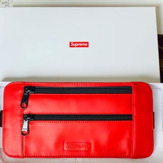 シュプリーム(Supreme)のsupreme red leather waist shoulder bag (ボディーバッグ)