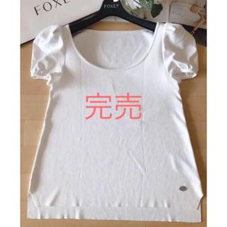 フォクシー(FOXEY)のフォクシー  ホワイト パフスリーブ  40(カットソー(半袖/袖なし))